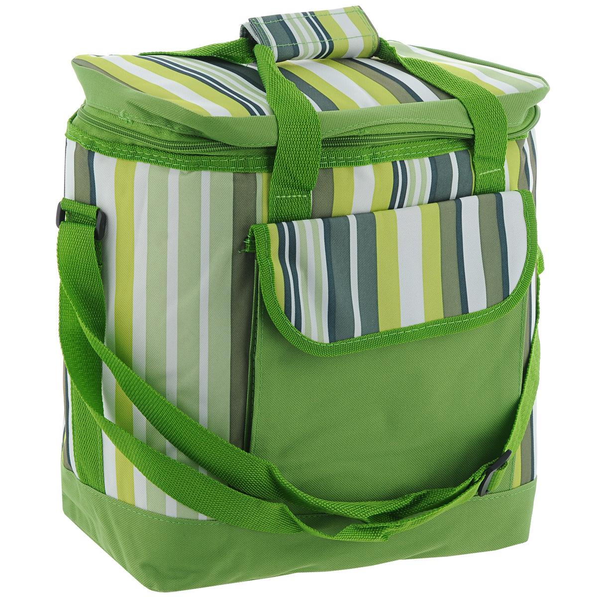 """Изотермическая термосумка """"Green Glade"""" пригодится на любом пикнике. Изнутри термосумка отделана специальным теплоизолирующим материалом, способным надолго сохранить холод, даже в жару. Сохранение температурного режима до 12 часов. Снаружи сумка изготовлена из плотного полиэстера с принтом в разноцветную вертикальную полоску. Достаточно вместительна, подходит для хранения и пищи, и напитков. Имеет одно основное отделение, закрывающееся на молнию. Спереди содержится кармашек для хранения столовых приборов и салфеток, закрывающийся клапаном на липучку.  Для удобной переноски сумка оснащена двумя ручками и отстегивающимся плечевым ремнем.  Сумка идеально подходит для отдыха на природе, пикников, туристических походов и путешествий."""
