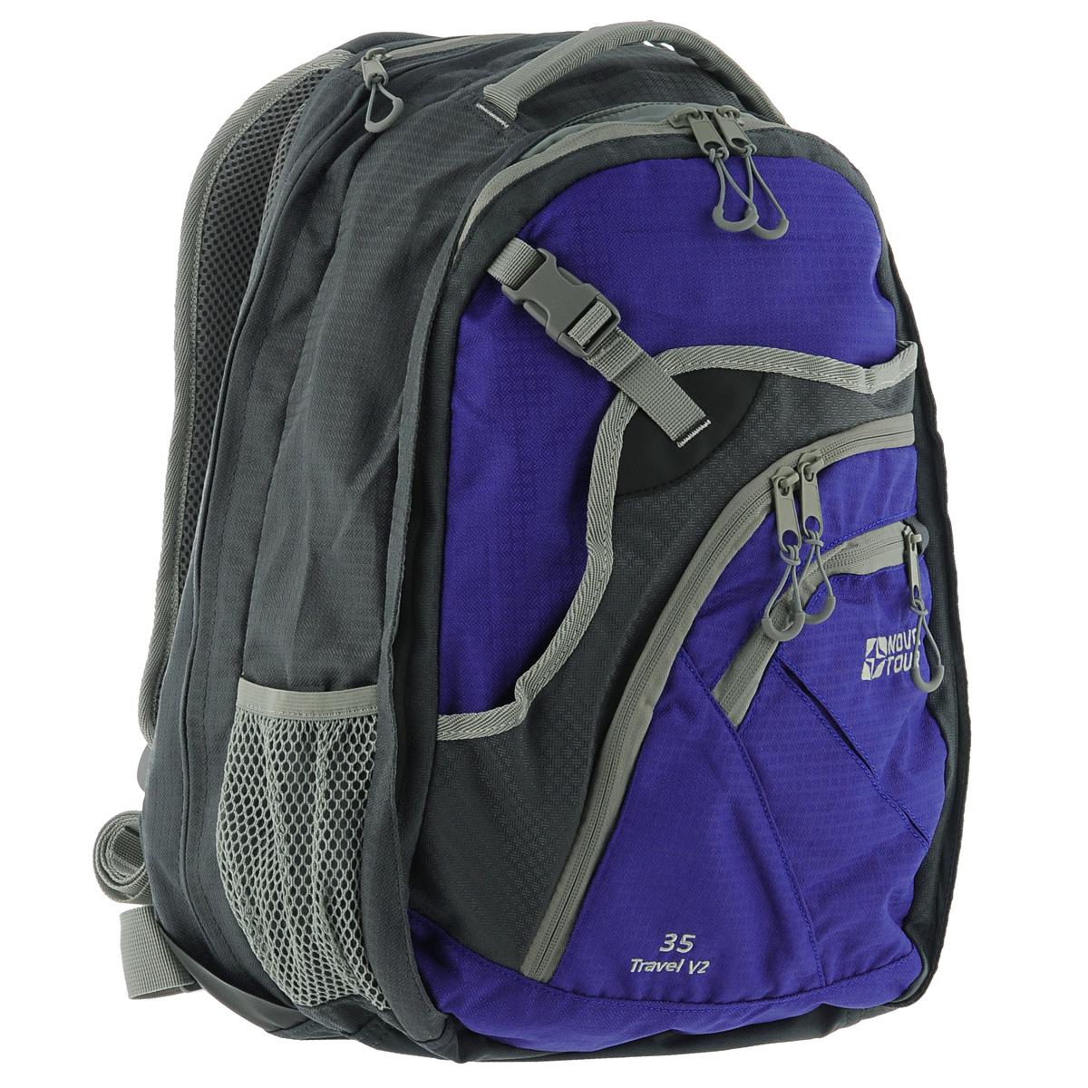 Рюкзак Nova Tour Трэвел 35 V2, цвет: серый, синий, 35 л95411-468-00Вместительный рюкзак-чемодан Nova Tour Трэвел 35 V2 позволит разместить в себе все необходимое благодаря множеству отделений и карманов. Выполнен из прочного полиэстера. Имеет 1 вместительное отделение на застежке-молнии с двумя бегунками, внутри которого расположен сетчатый карман и карман на застежке-молнии. На передней части расположен карман на пластиковой защелке и 2 кармана на застежке-молнии. Внутри одного из карманов имеется карабин для ключей. По бокам имеется 2 сетчатых кармана. Сверху расположен мягкий карман для очков.Объем может быть увеличен на 10 л за счет молнии.