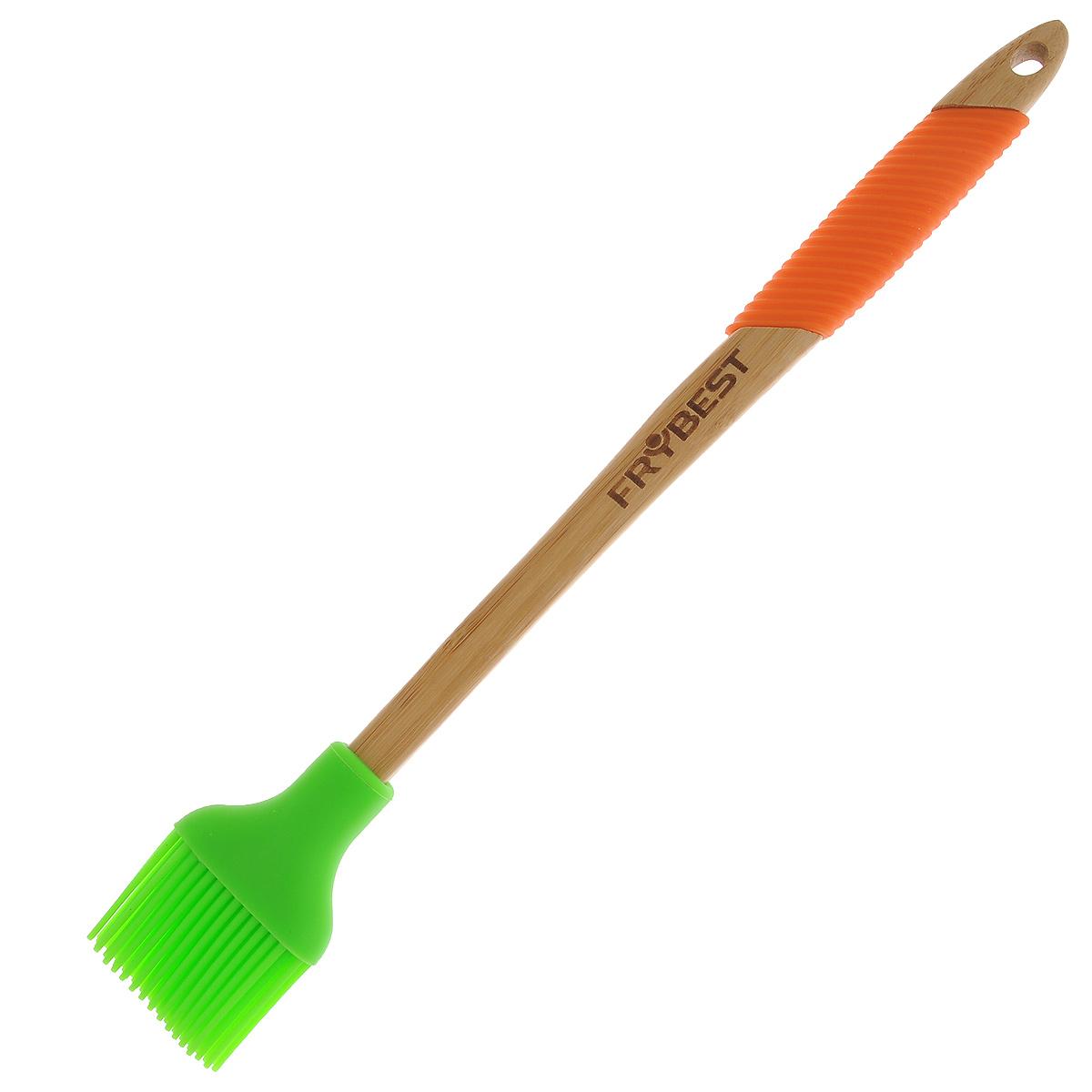 Кисточка бамбуковая Frybest с силиконовым наконечником, цвет: оранжевый, зеленый. MUR-UT2MUR-UT2Кисточка Frybest, выполненная из высококачественной древесины бамбука, займет достойное место среди аксессуаров на вашей кухне. Наконечник кисточки выполнен из силикона. Эргономичная ручка оснащена силиконовой вставкой, что обеспечит более комфортное использование. Благодаря небольшому отверстию на ручке кисточку можно легко подвесить в удобное для вас место. Такая кисточка не впитывает запахи и легко моется. Выполненная из натуральных материалов, она абсолютно экологична и гипоаллергенна. Оригинальный дизайн и качество исполнения не оставят равнодушными ни любителей готовить, ни опытных профессионалов-поваров. Длина кисточки: 36 см.Длина рабочей поверхности: 3,5 см.