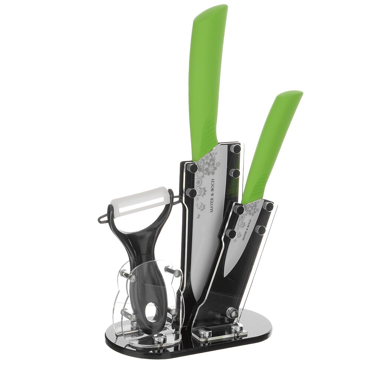 Набор керамических ножей Mayer & Boch, цвет: белый, салатовый, 4 предмета. 2185821858Набор ножей Mayer & Boch состоит из поварского ножа, ножа для чистки, ножа-пиллера и подставки. Лезвияножей выполнены из высококачественной керамики и декорированы цветочныморнаментом. Керамические ножи не подвергаются коррозии и не придают металлического привкуса или запаха, атакже сохраняют свежесть продуктов. Режущая кромка лезвий устойчива к притуплению. Ножи высоко гигиеничныи легки в очистке.Рукоятки эргономичной формы выполнены из ABS-пластика с прорезиненным покрытием. Специальный дизайнрукоятки обеспечивает комфортный и легко контролируемый захват.В комплект входит акриловая подставка.В наборе есть все необходимое для ежедневной нарезки фруктов, овощей и мяса. Ножи не рекомендуется мыть впосудомоечной машине.Длина лезвия поварского ножа: 15 см.Общая длина поварского ножа: 27,5 см.Длина лезвия ножа для чистки: 7,5 см.Общая длина ножа для чистки: 18 см.Длина лезвия ножа-пиллера: 4,2 см.Длина ножа-пиллера: 13 см.Размер подставки (ДхШхВ): 15,5 см х 8,5см х 18 см.