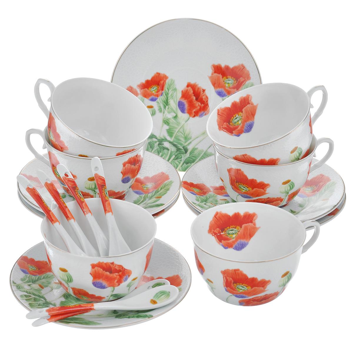 Набор чайный Briswild Цветы мака, 18 предметов набор чайный briswild сесиль 12 предметов