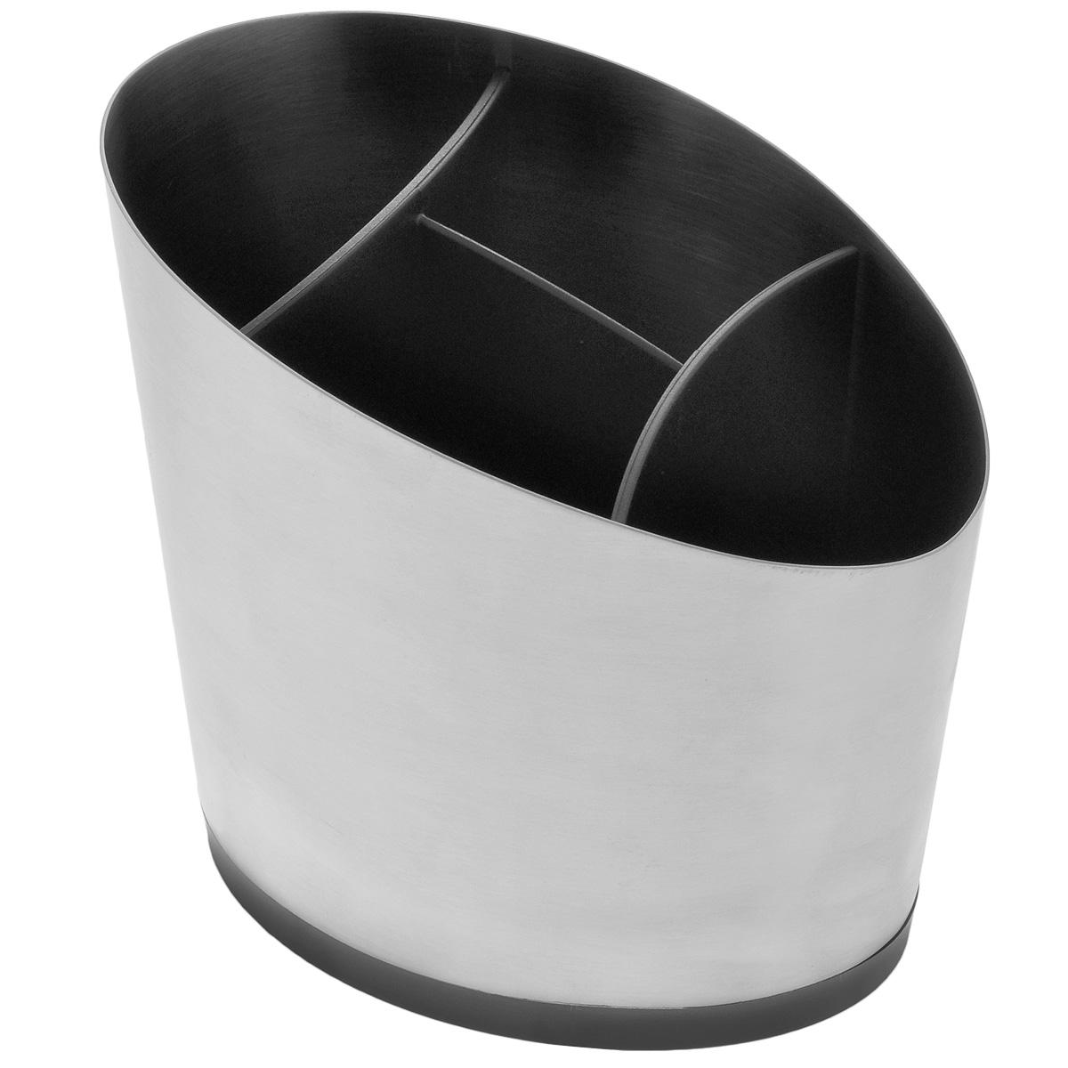 """Роскошная сушилка для кухонной утвари Tescoma """"President"""" подходит для сушки и хранения кухонной утвари, столовых приборов и т.д. Изготовлена из высококачественной нержавеющей стали с матовой полировкой и прочной пластмассы. Пластиковый вкладыш содержит 4 секции для удобного раздельного хранения, дно оснащено специальными отверстиями, через которые вода стекает вниз. Разборная конструкция для легкой очистки.  Можно мыть в посудомоечной машине."""