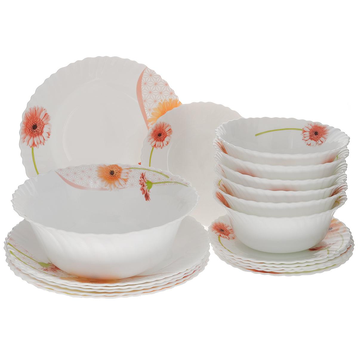 Набор столовой посуды Mayer & Boch, 19 предметов24101Набор столовой посуды Mayer & Boch выполнен из стекла высокого качества и состоит из 12 плоских и 7 глубоких тарелок разных диаметров. Изделия оформлены изящным цветочным рисунком и волнистыми краями. Столовый набор Mayer & Boch сочетает в себе изысканный дизайн с максимальной функциональностью. В набор входит: - 6 круглых плоских тарелок - 19 см х 19 см х 1,5 см; - 6 круглых плоских тарелок - 25,4 см х 25,4 см 2,5 см; - 6 круглых глубоких тарелок - 17,8 см х 17,8 см х 7 см; - 1 круглая глубокая тарелка - 22,9 см х 22,9 см х 9 см. Такой набор будет уместен на любой кухне и прекрасно подойдет для сервировки праздничного стола, а также станет приятным подарком родным и близким людям.Тарелки можно мыть в посудомоечной машине и держать в холодильнике. Не использовать на газовых плитах и открытом огне!