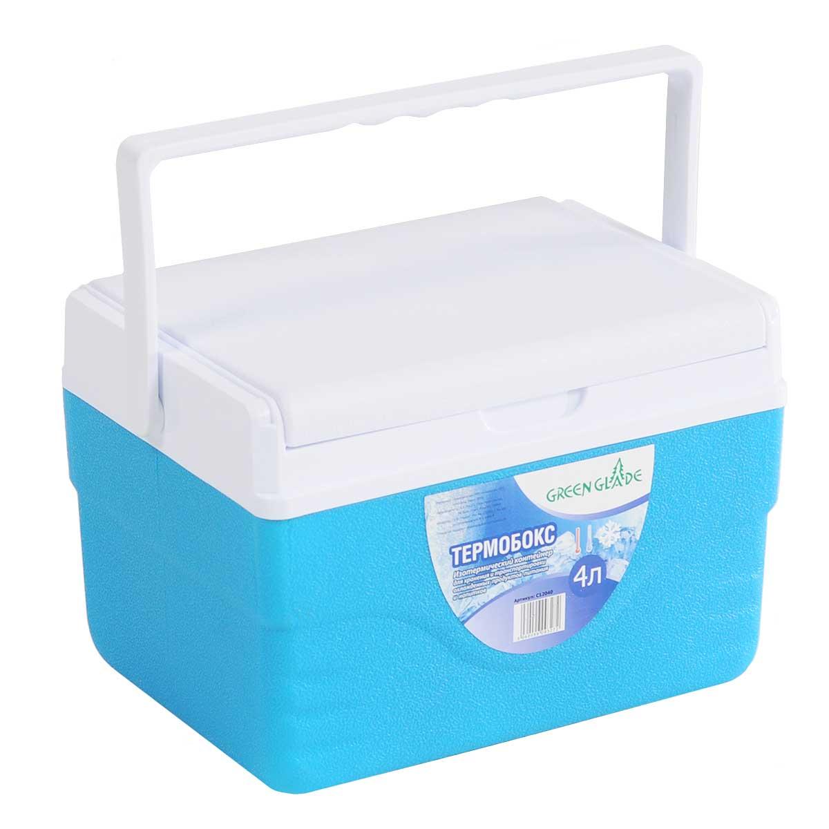 Контейнер изотермический Green Glade, цвет: голубой, 4 лС12040Легкий и прочный изотермический контейнер Green Glade предназначен для сохранения определенной температуры продуктов во время длительных поездок. Корпус и крышка контейнера изготовлены из высококачественного полистирола. Между двойными стенками находится термоизоляционный слой, который обеспечивает сохранение температуры. При использовании аккумулятора холода, контейнер обеспечивает сохранение продуктов холодными на 8-10 часов. Подвижная ручка делает более удобной переноску контейнера. Крышка может использоваться как столик или как поднос. Объем контейнера: 4 л.Размер контейнера: 25 см х 17 см х 18 см.