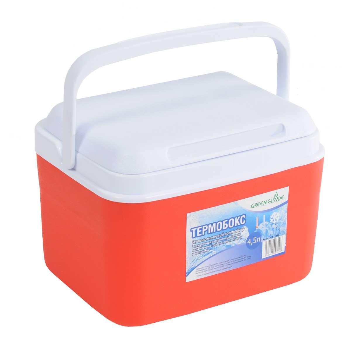Контейнер изотермический Green Glade, цвет: красный, 4,5 лС11045Легкий и прочный изотермический контейнер Green Glade предназначен для сохранения определенной температуры продуктов во время длительных поездок. Корпус и крышка контейнера изготовлены из высококачественного полистирола. Между двойными стенками находится термоизоляционный слой, который обеспечивает сохранение температуры. При использовании аккумулятора холода, контейнер обеспечивает сохранение продуктов холодными на 8-10 часов. Подвижная ручка делает более удобной переноску контейнера. Крышка может использоваться как столик или как поднос. Объем контейнера: 4,5 л.Размер контейнера: 26 см х 19 см х20 см.