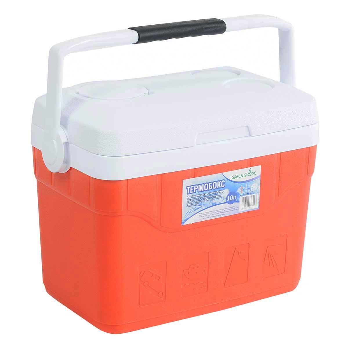 Контейнер изотермический Green Glade, цвет: красный, 10 лС11100Легкий и прочный изотермический контейнер Green Glade предназначен для сохранения определенной температуры продуктов во время длительных поездок. Корпус и крышка контейнера изготовлены из высококачественного пластика. Между двойными стенками находится термоизоляционный слой, который обеспечивает сохранение температуры. При использовании аккумулятора холода, контейнер обеспечивает сохранение продуктов холодными на 8-10 часов. Подвижная ручка делает более удобной переноску контейнера. Крышка может быть использована в качестве подноса. В ней имеются три углубления для стаканчиков.Контейнер идеально подходит для отдыха на природе, пикников, туристических походов и путешествий.Объем контейнера: 10 л.Размер контейнера: 35 см х 30 см х20 см.