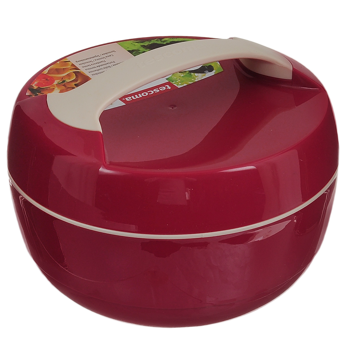"""Термоконтейнер Tescoma """"Family"""" изготовлен из высококачественного пищевого пластика. Прекрасно подходит для длительного хранения и переноски теплой и холодной пищи. Двойные стенки контейнера с высокоэффективным теплоизоляционным заполнением сохраняют пищу теплой или холодной в течение нескольких часов. При обычном использовании контейнер не бьющийся.  Крышка плотно и удобно закручивается. Для комфортной переноски предусмотрена ручка.  Контейнер нельзя мыть в посудомоечной машине.  Объем контейнера: 1,5 л.  Диаметр контейнера: 22 см.  Высота контейнера: 12,5 см."""