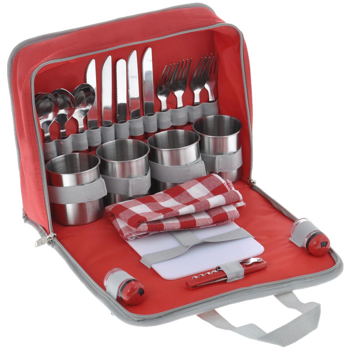 """Набор для пикника """"Green Glade"""" содержит всю необходимую посуду для пикника и комфортного отдыха на природе.  В набор входит:  - нож (4 шт),  - вилка (4 шт),  - ложка (4 шт),  - чашка (4 шт),  - салфетка (4 шт),  - солонка,  - перечница,  - нож для сыра/масла,  - складной нож со штопором,  - пластиковая разделочная доска.  Столовые приборы и кружки изготовлены из полированной нержавеющей стали с пластиковыми ручками красного цвета. Салфетки выполнены из хлопка с принтом в клетку. Квадратная разделочная доска сделана из прочного пластика белого цвета, солонка и перечница - из прозрачного пластика. Все приборы компактно помещаются в специальную сумку из полиэстера, сумка закрывается на застежку-молнию; оснащена двумя удобными ручками для переноски и двумя вшитыми кармашка на молнии для хранения аксессуаров.  Длина вилки/ложки: 18,5 см.  Длина ножа: 21 см.  Диаметр кружки (по верхнему краю): 7,5 см.  Высота кружки: 8 см.  Размер разделочной доски: 15 см х 15 см.  Размер салфетки: 31 см х 31 см.  Размер солонки/перечницы: 3 см х 3 см х 5,5 см.  Длина ножа со штопором: 11 см.  Размер сумки: 32 см х 26 см х 11 см."""