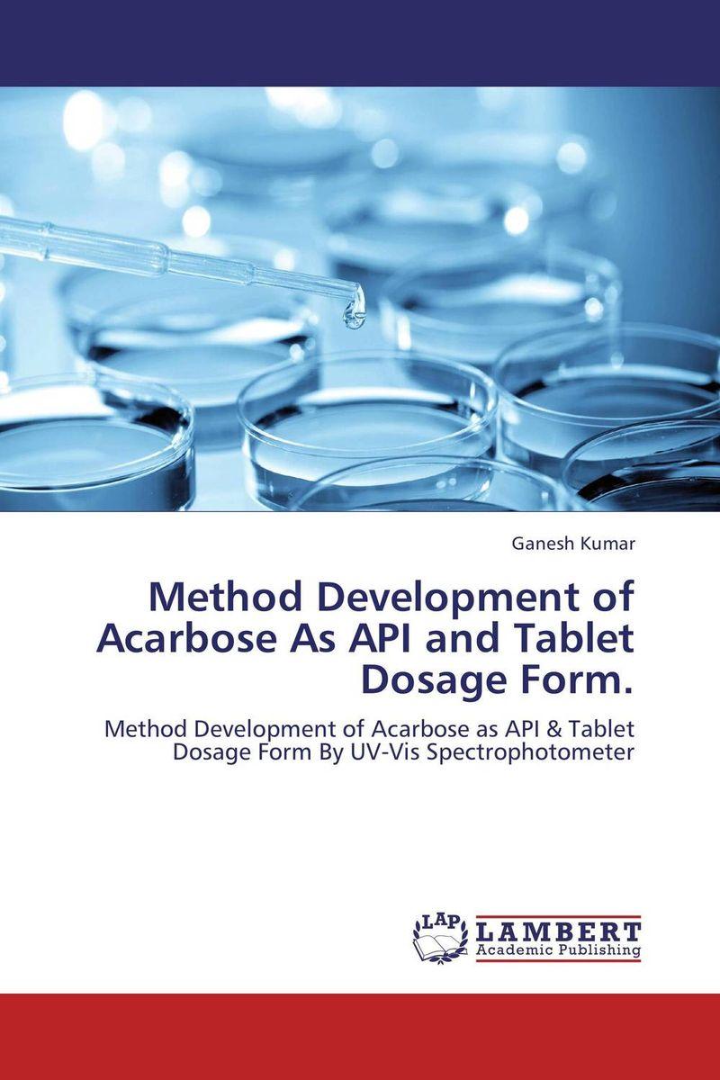 Method Development of Acarbose As API and Tablet Dosage Form.  kandarp m patel paresh u patel and bhanubhai n suhagia method development for analysis of anti diabetic combination