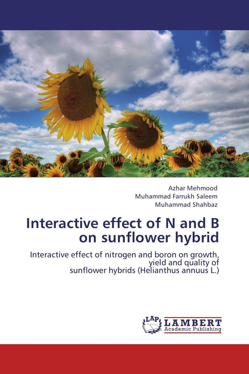 Interactive effect of N and B on sunflower hybrid effect of nitrogen and pgr s on growth and productivity of black gram