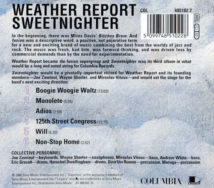 Weather Report.  Sweetnighter Columbia,SONY BMG