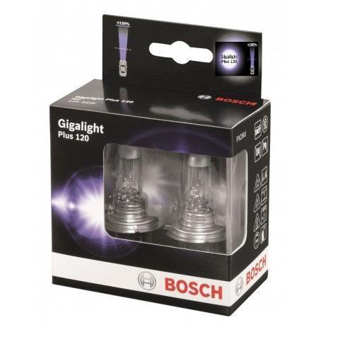 Лампа Bosch GIGALIGHT+120 H7 12V 55W 19873011071987301107Новые лампы Bosch для галогенных фар освещают дорогу интенсивным белым светом, который очень близок по свойствам к дневному освещению.Благодаря этому глаза водителя не теряют фокусировки и меньше устают даже во время долгих поездок в темное время суток. Новые лампы отличаются высокой яркостью и могут давать до 50% больше света, чем стандартные галогенные фары. Лампы Bosch доступны в вариантах H1, H4 и H7. Серебряное покрытие ламп H4 и H7 делает их едва заметными за стеклами выключенных фар. Новые лампы выглядят наиболее эффектно в сочетании с фарами из прозрачного стекла и подчеркивают современный дизайн автомобилей. Увеличенная яркость и дальность освещения положительно сказывается на безопасности движения. В темное время суток или в сложных погодных условиях, таких как ливень или густой туман, водитель замечает опасную ситуацию намного раньше и на большем расстоянии, при этом лучше заметен и сам автомобиль с фарами Bosch. Напряжение: 12 вольт