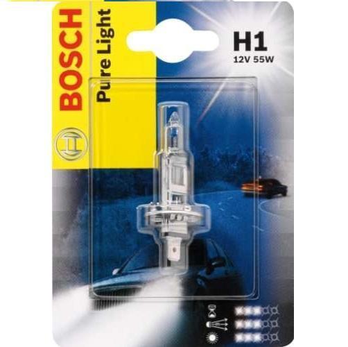 Лампа Bosch H1 55 Вт 19873010051987301005Новые лампы Bosch для галогенных фар освещают дорогу интенсивным белым светом, который очень близок по свойствам к дневному освещению.Благодаря этому глаза водителя не теряют фокусировки и меньше устают даже во время долгих поездок в темное время суток. Новые лампы отличаются высокой яркостью и могут давать до 50% больше света, чем стандартные галогенные фары. Лампы Bosch доступны в вариантах H1, H4 и H7. Серебряное покрытие ламп H4 и H7 делает их едва заметными за стеклами выключенных фар. Новые лампы выглядят наиболее эффектно в сочетании с фарами из прозрачного стекла и подчеркивают современный дизайн автомобилей. Увеличенная яркость и дальность освещения положительно сказывается на безопасности движения. В темное время суток или в сложных погодных условиях, таких как ливень или густой туман, водитель замечает опасную ситуацию намного раньше и на большем расстоянии, при этом лучше заметен и сам автомобиль с фарами Bosch. Напряжение: 12 вольт