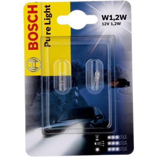 Лампа Bosch T5 W1.2W 12V 2шт 19873010241987301024Новые лампы Bosch выглядят наиболее эффектно в сочетании с фарами из прозрачного стекла и подчеркивают современный дизайн автомобилей. Основным предназначением габаритных огней является обозначение транспортного средства во время стоянки в темное время сутокили в сложных погодных условиях, таких как ливень или густой туман, при этом лучше заметен сам автомобиль с фарами Bosch. Напряжение: 12 вольт
