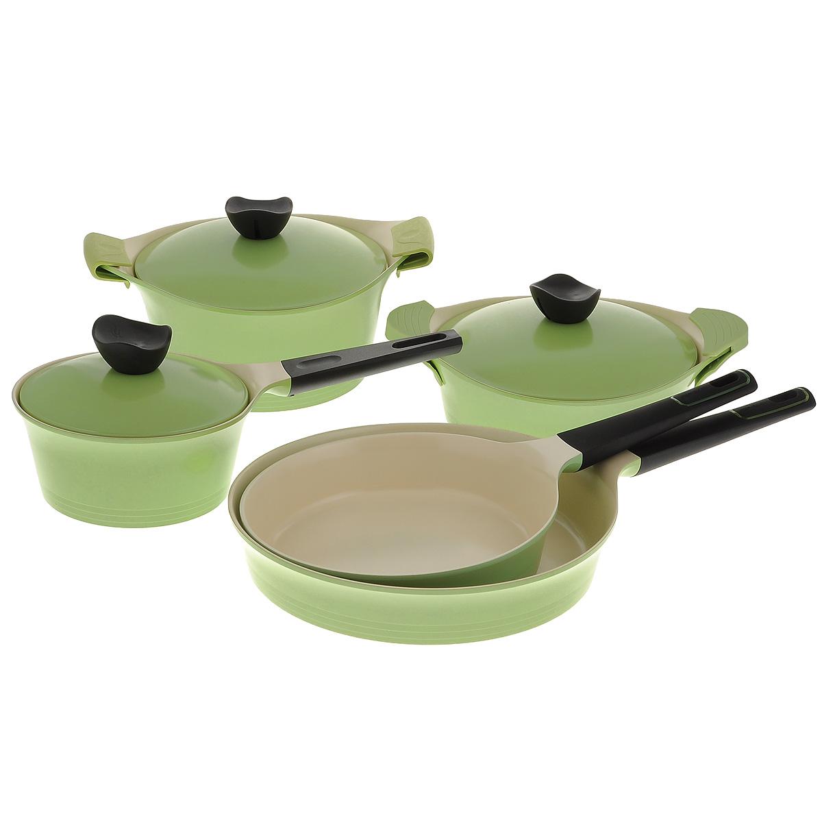 Набор посуды Frybest Evergreen, с керамическим покрытием, цвет: оливковый, 12 предметовGRCY-N20Набор посуды Frybest Evergreen состоит из жаровни с крышкой, кастрюли с крышкой, ковша с крышкой, 2 сковородок, 4 силиконовых прихваток. Изделия выполнены из литого алюминия с инновационным керамическим покрытием Ecolon, в производстве которого используются природные материалы - камни и песок. Особенности посуды Frybest Evergreen:- мощная основа из литого алюминия, - специальное утолщенное дно для идеальной теплопроводности, - керамическое антипригарное покрытие, позволяющее готовить практически без масла, - керамика как внутри, так и снаружи, легко готовить - легко мыть, - непревзойденная прочность и устойчивость к царапинам, - слой анионов (отрицательно заряженных ионов), обладающих антибактериальными свойствами, они намного дольше сохраняют приготовленную пищу свежей, - отсутствие токсичных выделений в процессе приготовления пищи.Ковш и сковороды оснащены эргономичной, удлиненной Soft-touch ручкой, которая всегда остается холодной.Подходит для использования на стеклокерамических, газовых, электрических плитах. Можно мыть в посудомоечной машине.Диаметры сковородок: 30 см, 24 см.Высота стенок сковородок: 6 см, 5,5 см.Длина ручек сковородок: 20,5 см, 20,5 см.Диаметр дна сковородок: 27,5 см, 22 см.Объем жаровни: 2,7 л.Диаметр жаровни: 24 см.Высота стенок жаровни: 7,5 см.Ширина жаровни (с учетом ручек): 34 см.Объем ковша: 2 л.Диаметр ковша: 18 см.Высота стенок ковша: 9,5 см.Диаметр дна ковша: 16 см.Длина ручки ковша: 17,5 см.Объем кастрюли: 4,5 л.Диаметр кастрюли: 24 см.Высота стенок кастрюли: 12,5 см.Ширина кастрюли (с учетом ручек): 34 см.Размер силиконовых прихваток: 12 см х 6 см.Толщина стенок посуды: 4 мм.Толщина дна посуды: 5 мм.