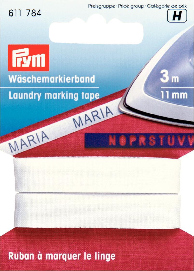 Лента для маркировки белья Prym, цвет: белый, 11 мм, 3 м611784Приутюживающаяся лента Prym поможет аккуратно промаркировать постельное белье или полотенца. Лента изготовлена из 100% хлопка. Ширина: 11 мм.Длина: 3 м.