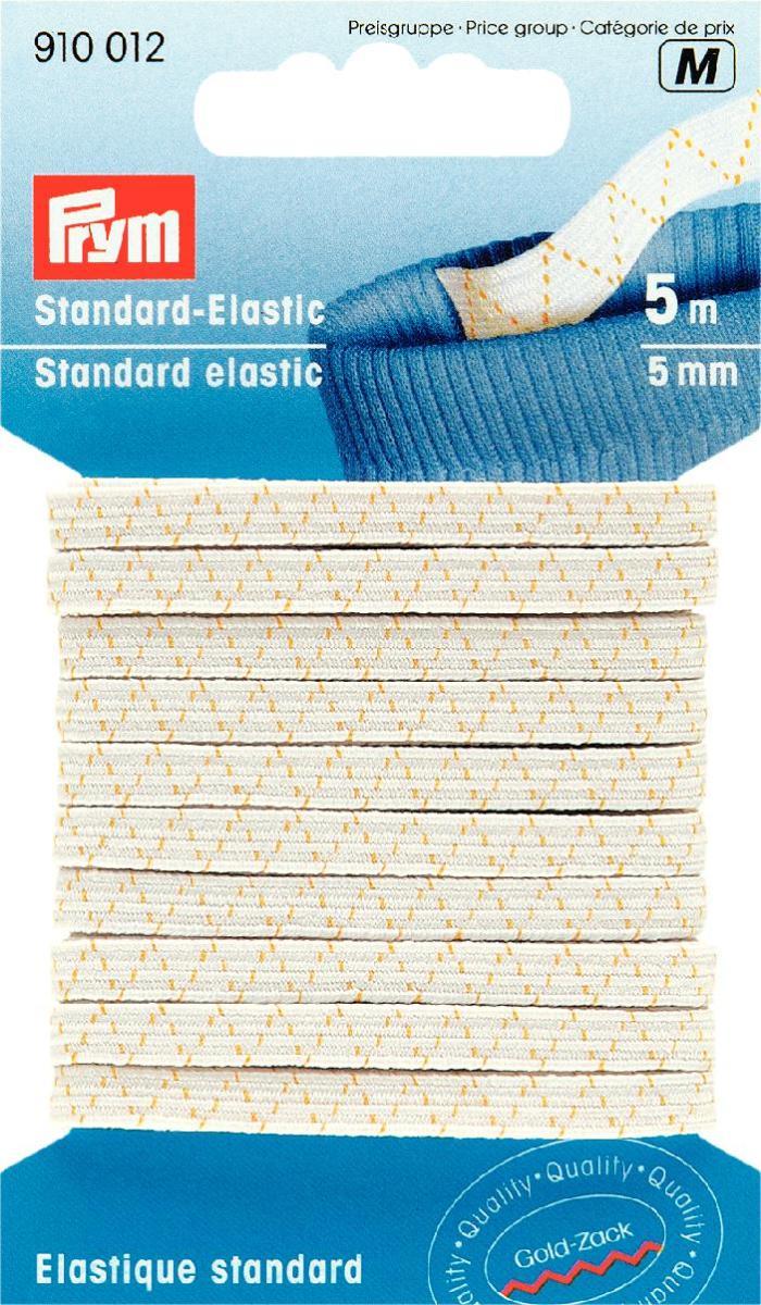 """Эластичная резинка """"Prym"""" используется при пошиве и ремонте одежды. Вшивается внутрь одежды. Изготовлена из 58% полиэстера и 42% эластана.  Такая резинка послужит незаменимым атрибутом в хозяйстве и рукоделии. Длина: 5 м.  Ширина: 5 мм."""