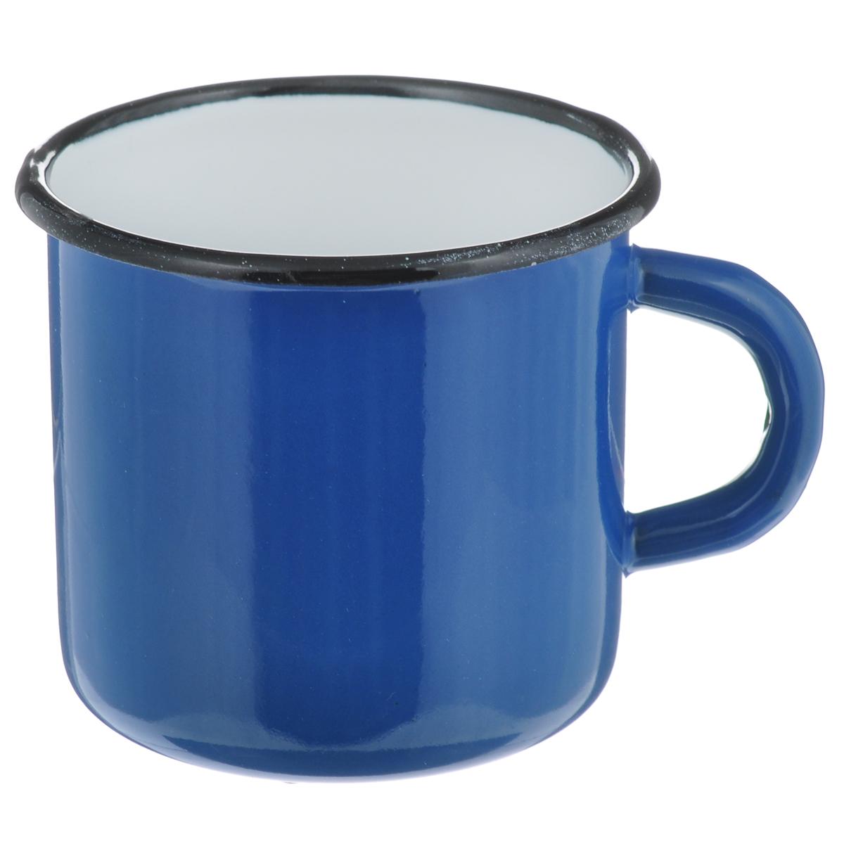 Кружка СтальЭмаль, цвет: синий, белый, 400 мл