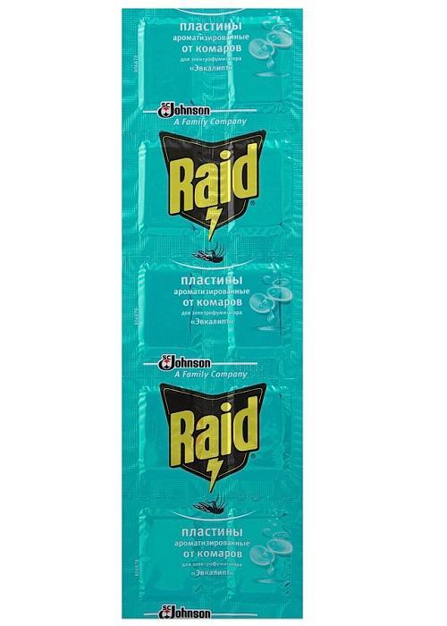 """Инсектицидное средство """"Raid"""" предназначено для уничтожения комаров в помещениях. В упаковке содержится 10 пластин с ароматом эвкалипта, которые вставляются в электрофумигатор, работающий от сети в 220 В. Средство начинает действовать уже через 10 минут после включения. Одна пластина рассчитана на 8 часов непрерывного использования. Размер пластины: 2,5 см х 3,5 см."""
