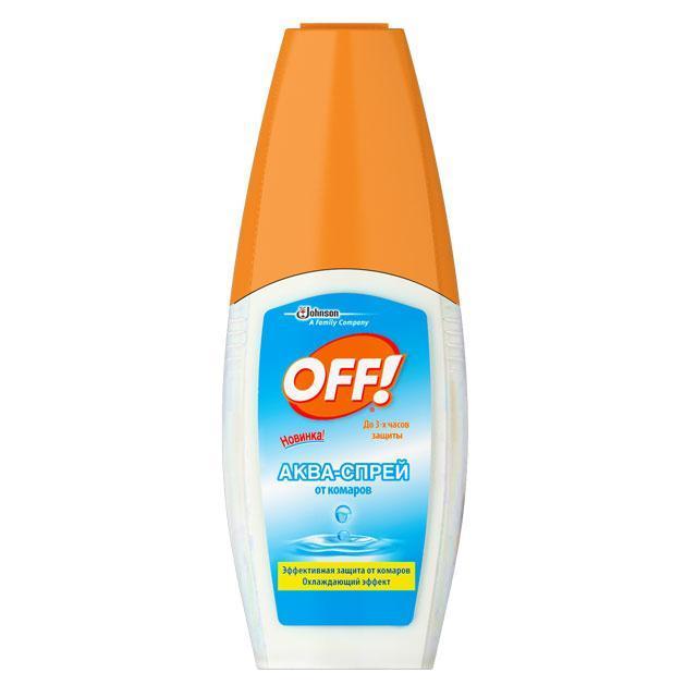 """Аква-спрей """"ОFF!"""" - безопасная и эффективная защита от комаров и других кровососущих насекомых. Идеален для лета: оказывает приятное охлаждающее действие без ощущения липкости. Обеспечивает защиту в течение 3 часов при нанесении на кожу и 10 суток при нанесении на одежду."""