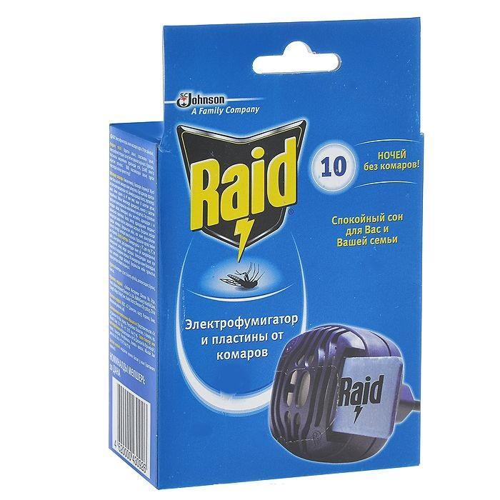 Электрофумигатор от комаров Raid + 10 пластин639958Электрофумигатор Raid обладает особой усовершенствованной конструкцией, которая обеспечивает равномерное нагревание пластины и испарение действующего вещества. Пластины содержат действующее вещество пинамин-форте, которое способствует гибели комаров уже через 10-15 минут работы и обеспечивает спокойный сон в течение 8 часов. Пластины эффективны даже при открытых окнах.