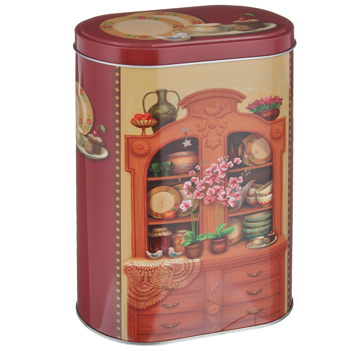 Банка для сыпучих продуктов Феникс-презент Бабушкин сервант, 1,7 л37656Банка для сыпучих продуктов Феникс-презент Бабушкин сервант, изготовленная из окрашенного черного металла, оформлена ярким рисунком. Банка прекрасно подойдет для хранения различных сыпучих продуктов: специй, чая, кофе, сахара, круп и многого другого. Емкость плотно закрывается крышкой. Благодаря этому она будет дольше сохранять свежесть ваших продуктов. Функциональная и вместительная, такая банка станет незаменимым аксессуаром на любой кухне.Нельзя мыть в посудомоечной машине. Объем банки: 1,7 л. Высота банки (без учета крышки): 18,5 см.Размер банки (по верхнему краю): 13,5 см х 7,5 см.
