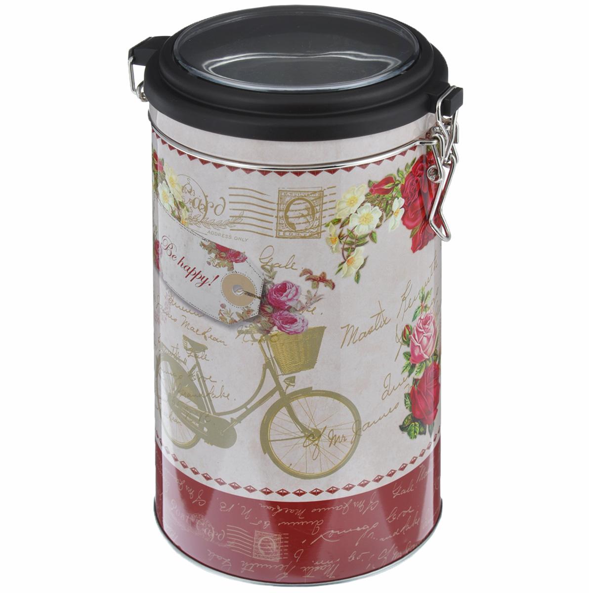 Банка для сыпучих продуктов Феникс-презент Велосипед, 1,8 л37638Банка для сыпучих продуктов Феникс-презент Велосипед, изготовленная из окрашенного черного металла, оформлена ярким рисунком. Банка прекрасно подойдет для хранения различных сыпучих продуктов: специй, чая, кофе, сахара, круп и многого другого. Емкость плотно закрывается прозрачной пластиковой крышкой на металлический замок. Благодаря этому она будет дольше сохранять свежесть ваших продуктов.Функциональная и вместительная, такая банка станет незаменимым аксессуаром на любой кухне. Нельзя мыть в посудомоечной машине.Объем банки: 1,8 л.Высота банки (без учета крышки): 17,4 см. Диаметр банки (по верхнему краю): 10,5 см.