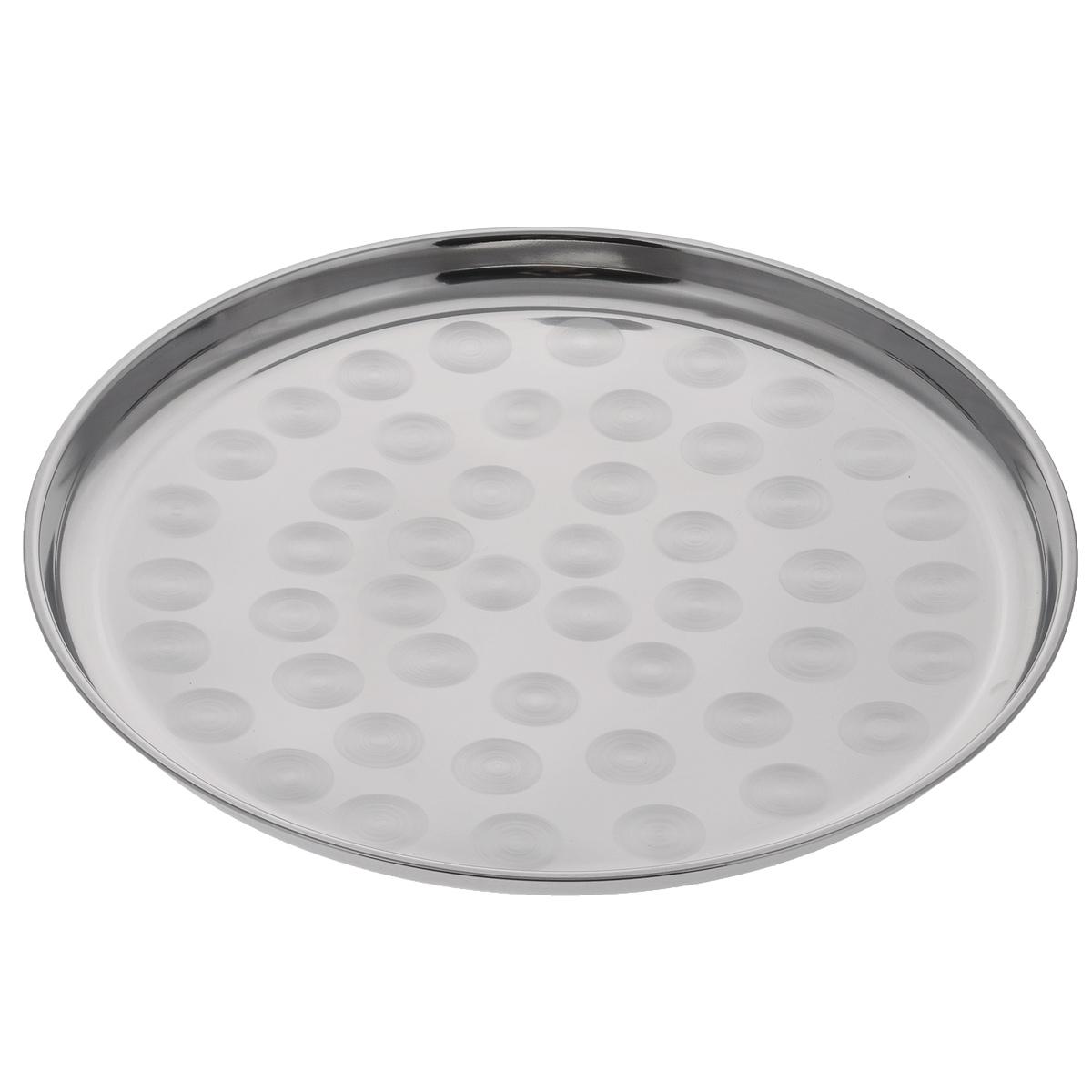 Поднос Padia, диаметр 35 см5400-01Круглый поднос Padia выполнен из высококачественной нержавеющей стали. Он отлично подойдет для красивой сервировки различных блюд, закусок и фруктов на праздничном столе. Благодаря бортикам, поднос с легкостью можно переносить с места на место.Поднос Padia займет достойное место на вашей кухне.Диаметр подноса: 35 см.Высота подноса: 2 см.