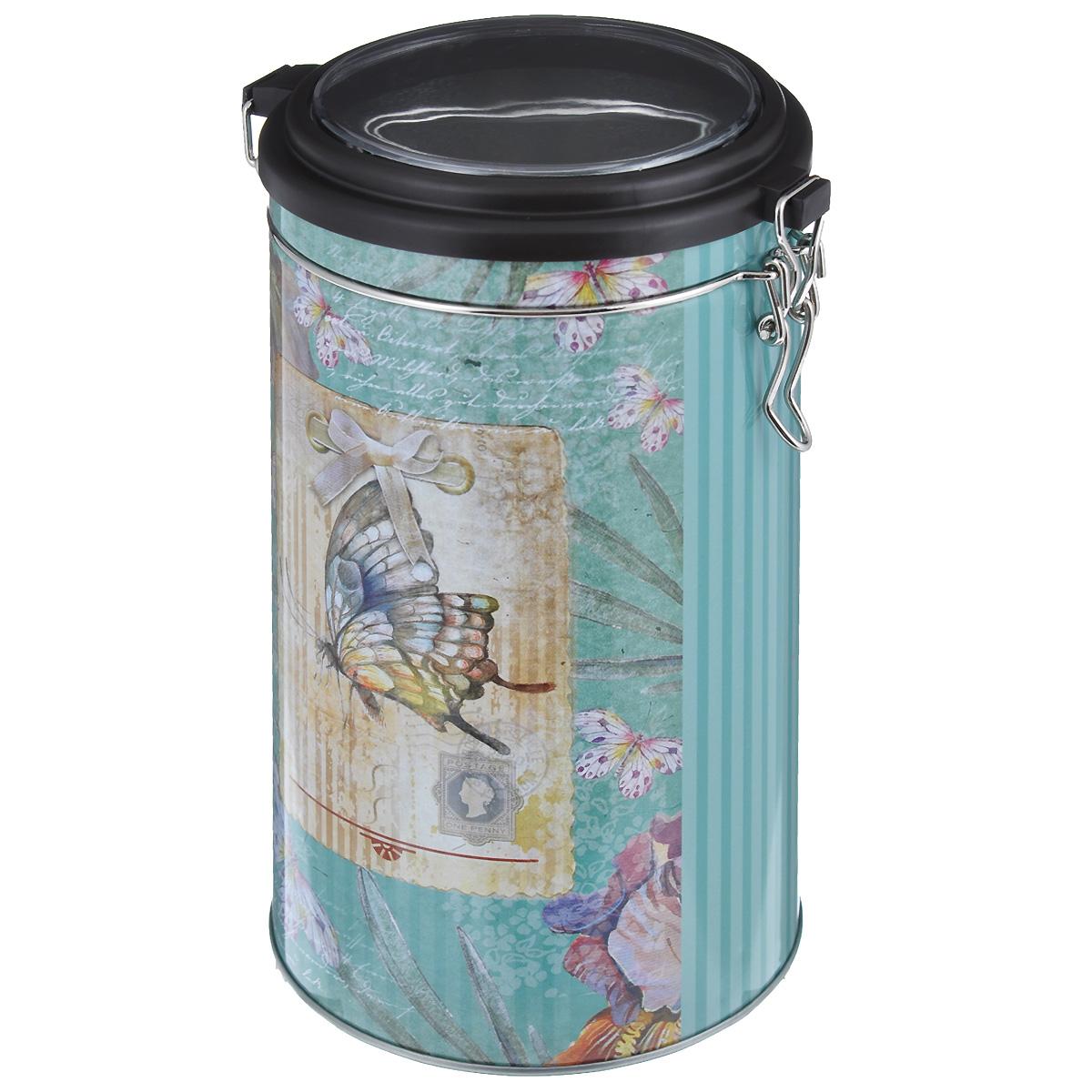 Банка для сыпучих продуктов Феникс-презент Бабочка, 1,8 л37634Банка для сыпучих продуктов Феникс-презент Бабочка, изготовленная из окрашенного черного металла, оформлена ярким рисунком. Банка прекрасно подойдет для хранения различных сыпучих продуктов: специй, чая, кофе, сахара, круп и многого другого. Емкость плотно закрывается прозрачной пластиковой крышкой на металлический замок. Благодаря этому она будет дольше сохранять свежесть ваших продуктов.Функциональная и вместительная, такая банка станет незаменимым аксессуаром на любой кухне. Нельзя мыть в посудомоечной машине.Объем банки: 1,8 л.Высота банки (без учета крышки): 17,4 см. Диаметр банки (по верхнему краю): 10,5 см.