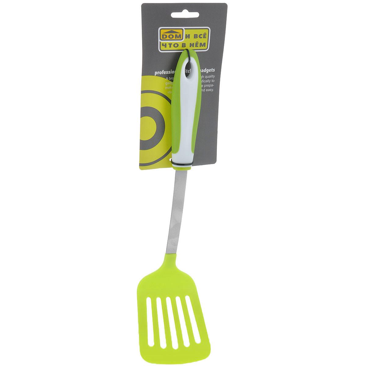 Лопатка кулинарная Green, с прорезями, цвет: зеленый, длина 34 см. 831-042831-042Яркая кулинарная лопатка Green с прорезями выполнена из высококачественного пластика. Эргономичная прорезиненная ручка не позволит ложке выскользнуть из вашей руки.Стильная лопатка займет достойное место среди аксессуаров на вашей кухне. Оригинальный дизайн и качество исполнения не оставят равнодушными ни тех, кто любит готовить, ни опытных профессионалов-поваров. Длина лопатки: 34 см.Размер рабочей поверхности: 8 см х 9,5 см.