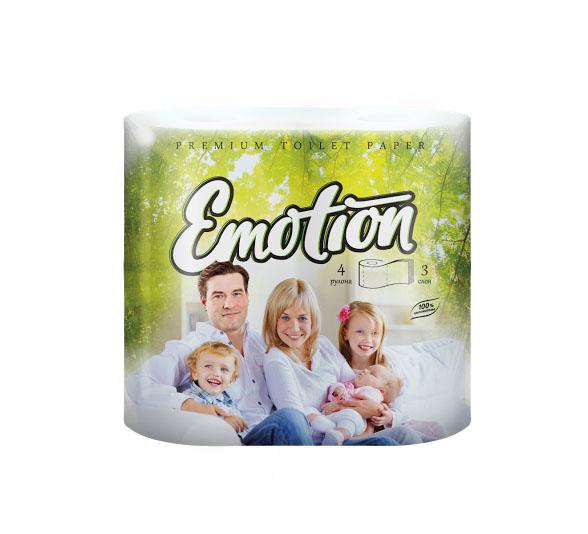 Туалетная бумага Мягкий знак Emotion, трехслойная, цвет: белый, 4 рулонаC53Туалетная бумага Мягкий знак Emotion, выполненная из натуральной целлюлозы, обеспечивает превосходный комфорт и ощущение чистоты и свежести. Необыкновенно мягкая, но в тоже время прочная, бумага не расслаивается и отрывается строго по линии перфорации. Трехслойные листы имеют рисунок с перфорацией.Количество листов: 160 шт. Количество слоев: 3. Размер листа: 12,5 см х 9,6 см. Состав: 100% целлюлоза.