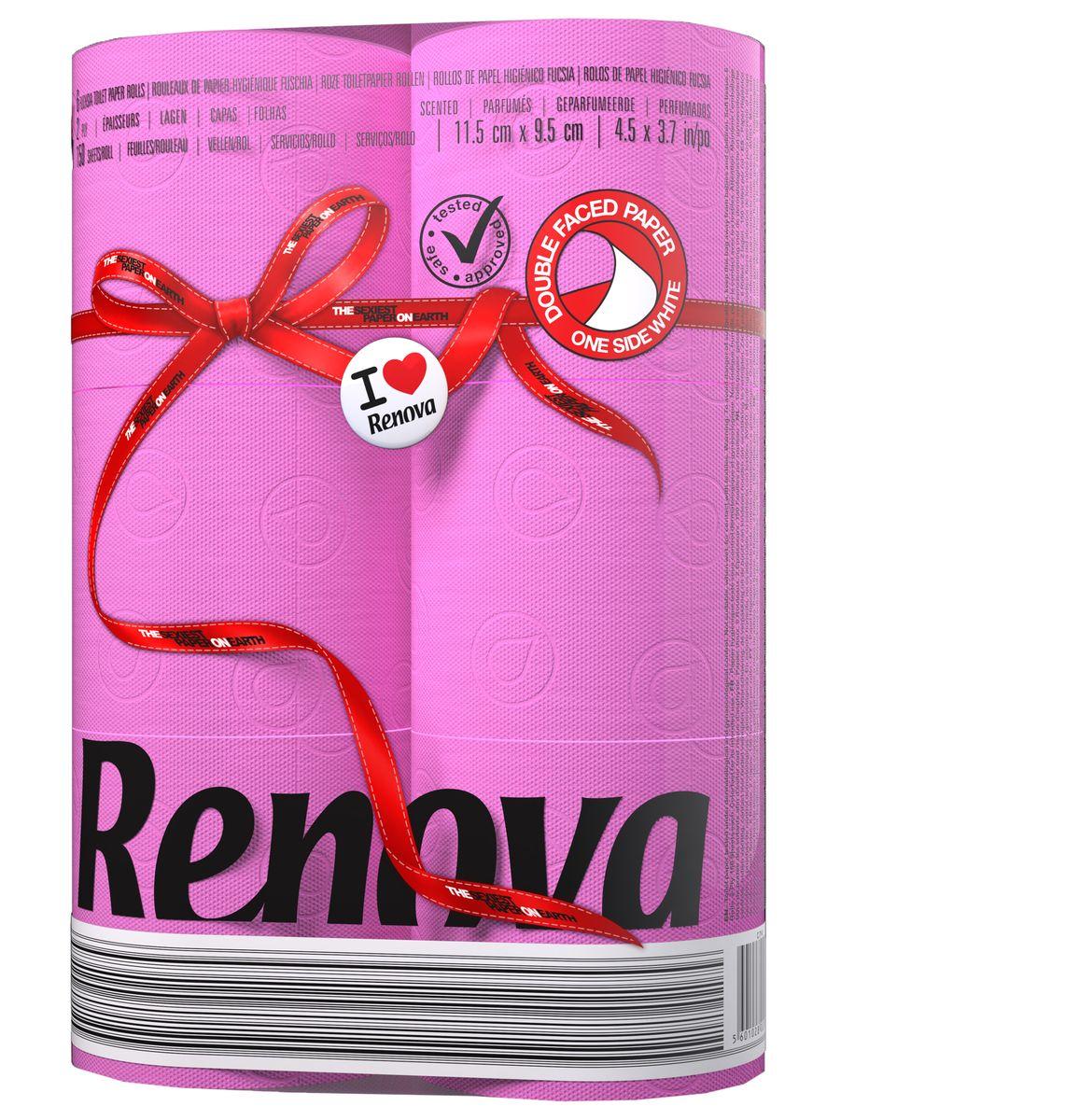 Туалетная бумага Renova, двухслойная, ароматизированная, цвет: фуксия, 6 рулонов200066926Туалетная бумага Renova изготовлена по новейшей технологии из 100% ароматизированной целлюлозы, благодаря чему она имеет тонкий аромат, очень мягкая, нежная, но в тоже время прочная. Эксклюзивная двухсторонняя туалетная бумага Renova  экстрамодного цвета, придаст вашему туалету оригинальность. Состав: 100% ароматизированная целлюлоза.Количество листов: 150 шт. Количество слоев: 2. Размер листа: 11,5 см х 9,5 см. Количество рулонов: 6 шт. Португальская компания Renova является ведущим разработчиком новейших технологий производства, нового стиля и направления на рынке гигиенической продукции.Современный дизайн и высочайшее качество, дерматологический контроль - это то, что выделяет компанию Renova среди других производителей бумажной санитарно-гигиенической продукции.
