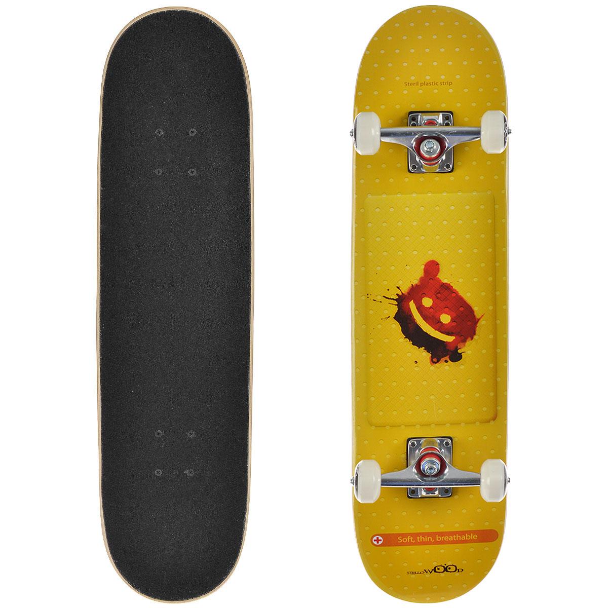 Скейтборд HelloWood Strip, дека 79 см х 20 см скейтборд пластиковый action цвет голубой дека 71 см х 19 см
