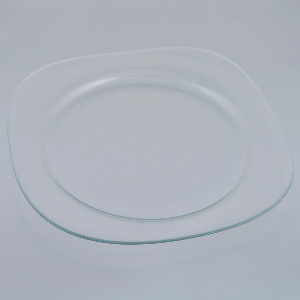 Блюдо Pasabahce Invitation, 31 х 31 см10469BБлюдо Pasabahce Invitation изготовлено из прочного закаленного натрий-кальций-силикатного стекла. Изделие имеет квадратную форму с закругленными углами. Изящное блюдо прекрасно подходит для подачи тортов, пирогов и другой выпечки, а также различных закусок и нарезок. Такое блюдо красиво оформит праздничный стол и удивит вас лаконичным и стильным дизайном. Можно мыть в посудомоечной машине.Размер блюда: 31 см х 31 см.Высота блюда: 2 см.