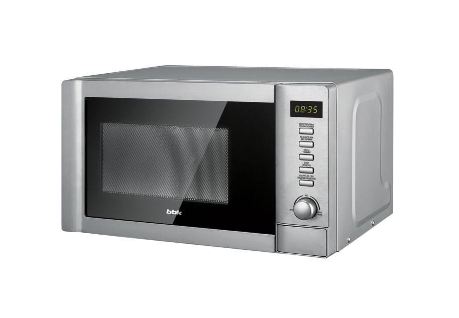 BBK 20MWG-730T/BX микроволновая печь20MWG-730T/BXОсвойте всю кулинарную книгу вместе с микроволновой печью 20MWG-730T/BX. Благодаря встроенному грилю печь может работать в 3 режимах: микроволны, гриль и комби. В режиме микроволны можно подогревать, готовить или размораживать блюда. Для разморозки имеются 2 программируемых режима – по весу и по времени. Режим гриль предназначен для запекания мяса или рыбы до аппетитной хрустящей корочки. Также печьснабжена функцией Автоменю – набор предустановленных программ для приготовления определенных блюд. Чтобы камера печи дольше оставалась чистой, при приготовлении накрывайте блюда специальной крышкой, входящей в комплект.
