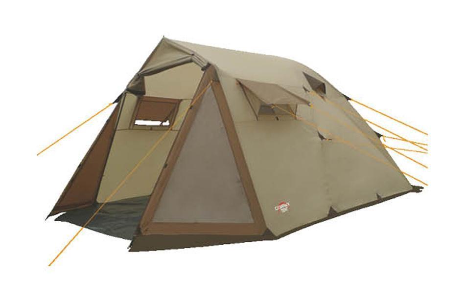 Палатка кемпинговая CAMPACK-TENT Camp Voyager 5 (2013) (олива) арт.00376300037630Кемпинговая палатка Camp Voyager – это лучший выбор для выезда большой компанией. Размеры палатки позволяют спокойно передвигаться внутри в полный рост. Несмотря на большие размеры палатки, вы легко установите ее практически в любой местности. В палатке имеется два противоположных входа, что обеспечивает отличную вентиляцию. Этому способствуют и дополнительные окна на боковых поверхностях тента, которые также защищены противомоскитной сеткой и внешними шторами. На главном входе расположены два прозрачных окна, пропускающих свет. High Quality каркас изготовлен из фибергласса и стальных конструкций, которые не содержат изгибаемых элементов. За счет этого палатка приобрела еще большую надежность. Проклеенные швы гарантируют герметичность и надежность в любой ситуации. Материал: Taffeta/алюминий