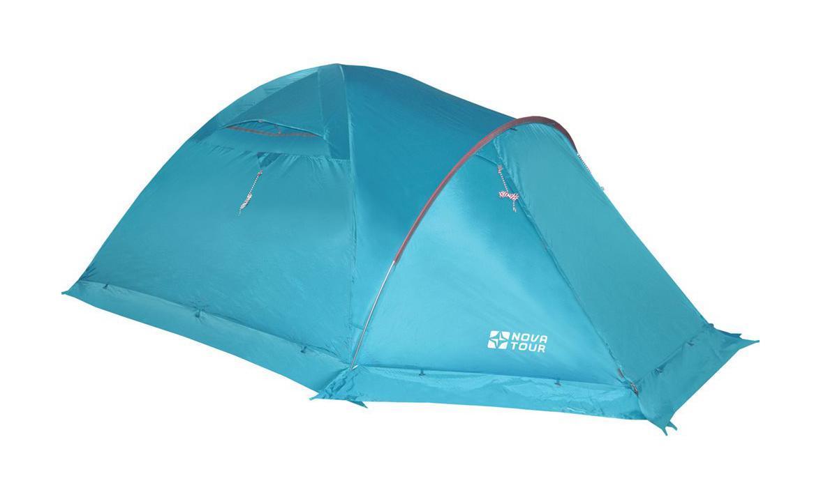 NOVA TOUR Палатка Терра 4 V2, цвет: Нави. Арт.9541895418-306-00Усовершенствованная система вентиляции, позволяет открывать и закрывать вентиляционный клапан тента изнутри. УдобныйQ-образный вход, ветрозащитная юбка. Оттяжки со светоотражающими нитями. Гермочехол для хранения мокрого тента и внутренней палатки.Просторный тамбур, противомоскитные сетки. Дополнительная дуга образует над входом крышу, которая препятствует попаданию дождя внутрь даже при открытой двери тамбура.