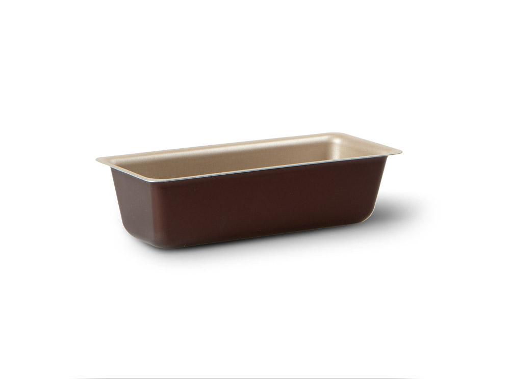 """Прямоугольная форма для пирога TVS """"Dolci Idee"""" изготовлена из высококачественного алюминия с внутренним антипригарным покрытием """"Ipertek"""".  Оригинальная по дизайну форма имеет внутренне покрытие золотистого цвета, а внешнее шоколадного.  Форма предназначена для использования в духовом шкафу. Можно мыть в посудомоечной машине. Простая в уходе и долговечная в использовании форма для пирога TVS """"Dolci Idee"""" будет верной помощницей в создании ваших кулинарных шедевров.  Размер формы (внешний): 27 см х 10 х 7 см.  Размер формы (внутренний): 23 см х 8 х 6 см."""