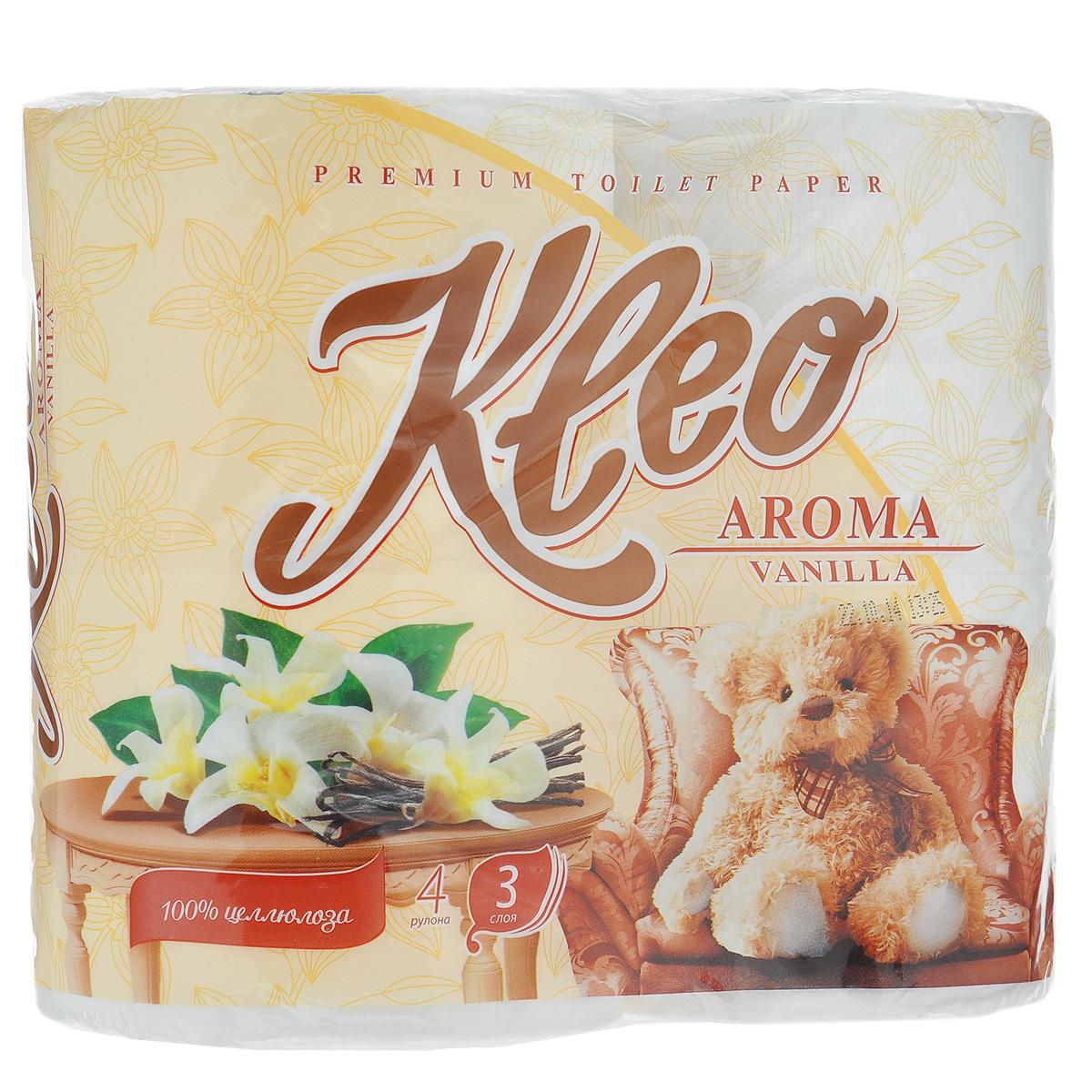 Туалетная бумага Kleo Aroma. Vanilla, трехслойная, цвет: белый, 4 рулонаC87Туалетная бумага Kleo Aroma. Vanilla, выполненная из натуральной целлюлозы, обеспечивает превосходный комфорт и ощущение чистоты и свежести. Имеет нежный аромат ванили. Необыкновенно мягкая, но в тоже время прочная, бумага не расслаивается и отрывается строго по линии перфорации. Трехслойные листы имеют рисунок с перфорацией.Количество листов: 168 шт. Количество слоев: 3. Размер листа: 12,5 см х 9,6 см. Состав: 100% целлюлоза, ароматизатор.