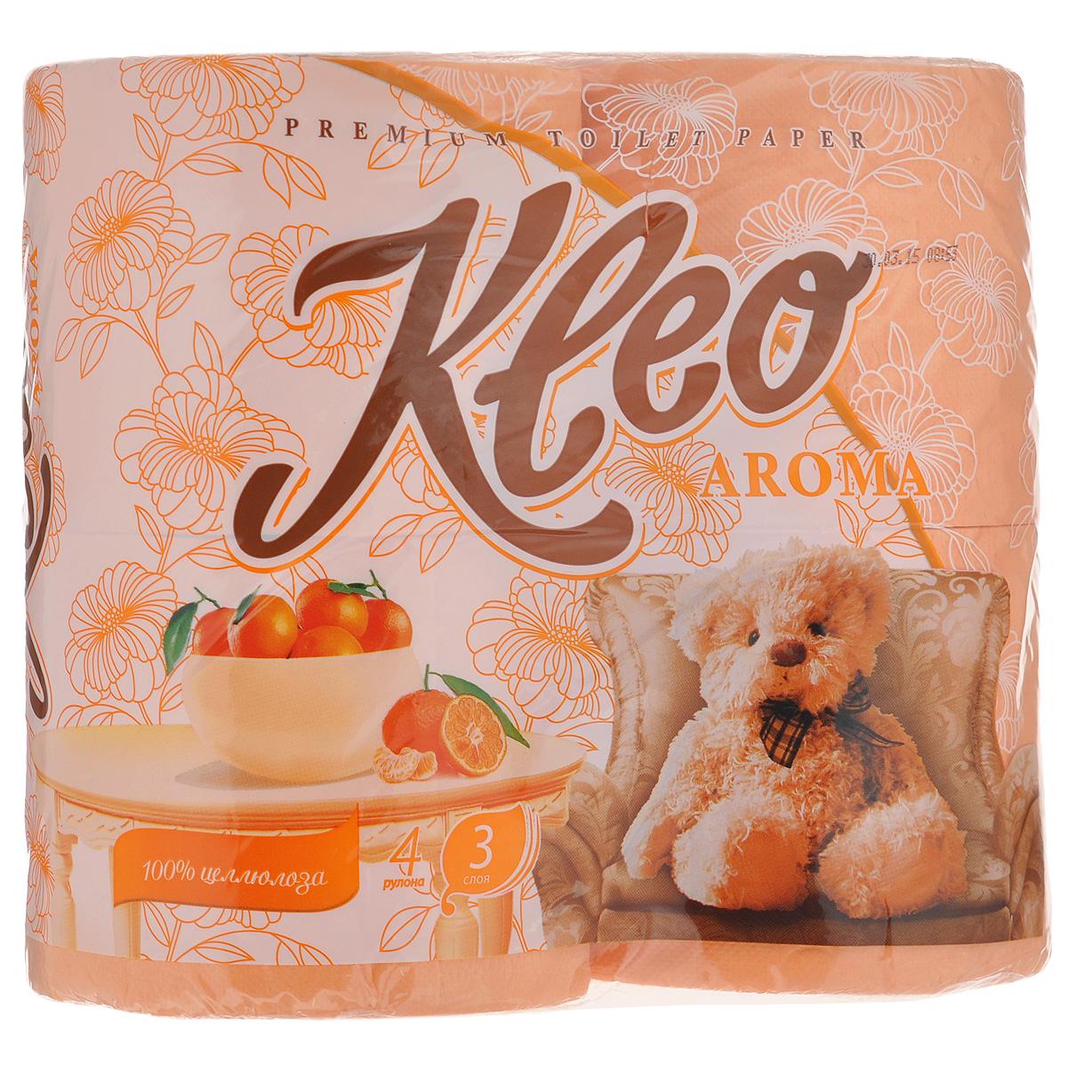 Туалетная бумага Kleo Aroma. Mandarin, трехслойная, цвет: персиковый, 4 рулонаC98Туалетная бумага Kleo Aroma. Mandarin, выполненная из натуральной целлюлозы, обеспечивает превосходный комфорт и ощущение чистоты и свежести. Имеет приятный аромат мандарина. Необыкновенно мягкая, но в тоже время прочная, бумага не расслаивается и отрывается строго по линии перфорации. Трехслойные листы имеют рисунок с перфорацией.Количество листов: 168 шт. Количество слоев: 3. Размер листа: 12,5 см х 9,6 см. Состав: 100% целлюлоза, ароматизатор.