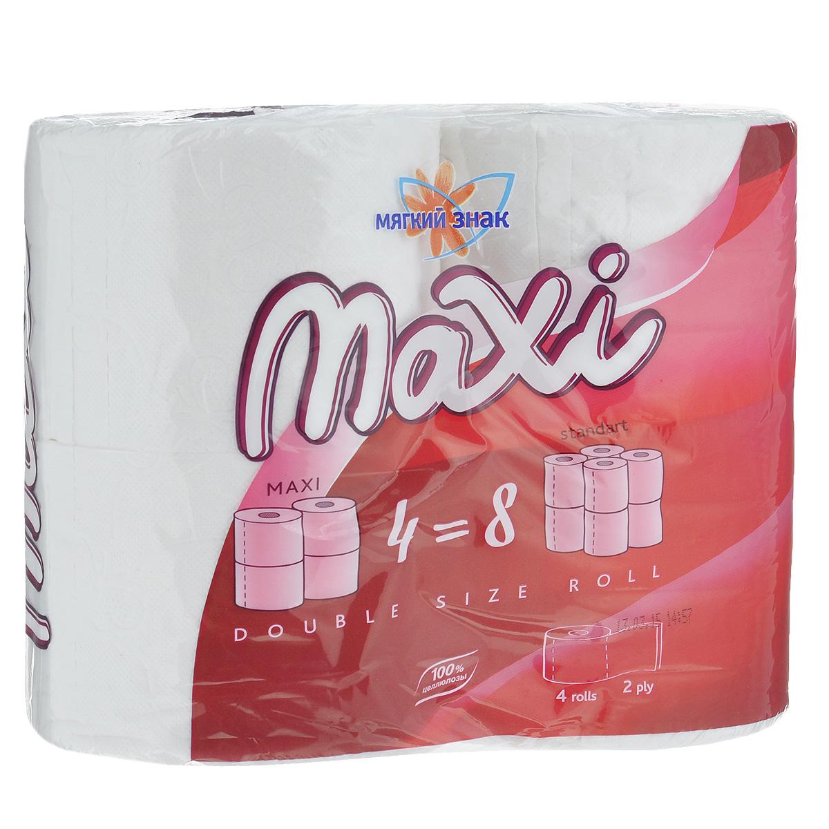 """Туалетная бумага Мягкий знак """"Maxi"""", двухслойная, цвет: белый, 4 рулона"""