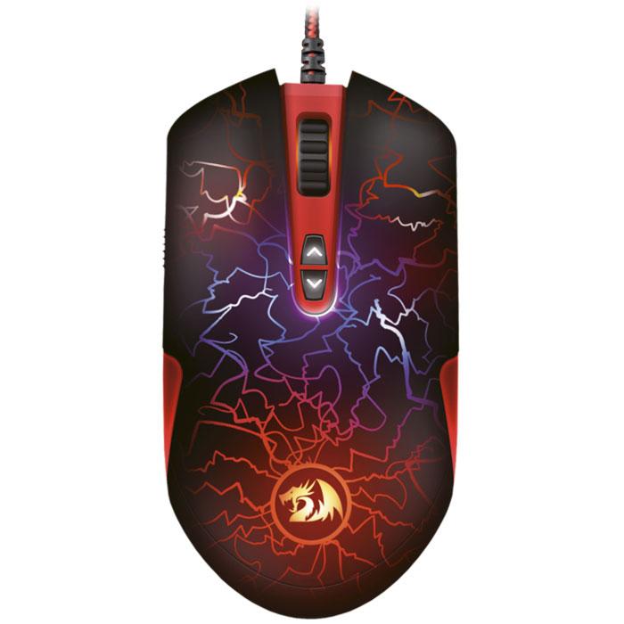 Redragon Lavawolf игровая мышь70236Игровая мышь Redragon LavaWolf с высококачественными кнопками и программно управляемой подсветкой. Обтекаемая форма спрорезиненным покрытие с добавлением мелкодисперсного песка способствует плотному и комфортному захвату манипулятора.Высокоточный оптический сенсор Avago ADNS-3050 позволяет выбрать разрешение от 100 до 3500 DPI с шагом 100 DPI. Дополнительные кнопки программируются для выполнения игровых команд, также настраиваются для управления компьютером, офисными программами и проигрывателем. Функция Fire позволяет настроить любую дополнительную кнопку для одиночных выстрелов. Также в манипуляторе предусмотрена возможность раздельной настройки DPI по осям X и Y и скорости опроса.Встроенный редактор макросов позволяет записывать и редактировать последовательности до 52 команд с возможностью зацикливания. Встроенная память дает возможность сохранять игровые профили. С помощью сменных утяжелителей есть возможность регулировать вес устройства или изменить центр тяжести, перемещая грузики в различные положения. Тефлоновые ножки обладают отличным скольжением по поверхности. Прочный кабель в тканевой оплетке оснащен позолоченным USB-коннектором и ферритовым фильтром, обеспечивающими стабильную передачу сигнала и защиту от помех.