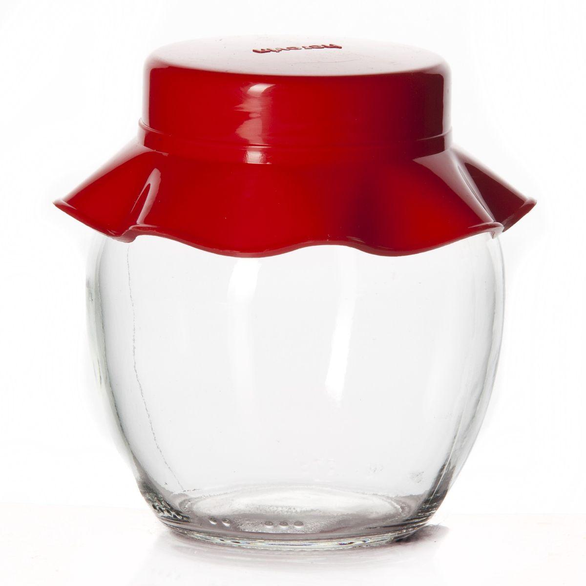 """Банка для хранения """"Herevin"""" выполнена из прозрачного стекла и  оснащена пластиковой цветной крышкой.  Крышка легко откручивается, благодаря чему засыпать приправу или налить варенье внутрь очень  просто.  Такая баночка станет достойным дополнением к вашему кухонному инвентарю.   Можно мыть в посудомоечной машине.  Объем: 370 мл. Диаметр (по верхнему краю): 5,5 см. Высота банки (без учета крышки): 10 см."""