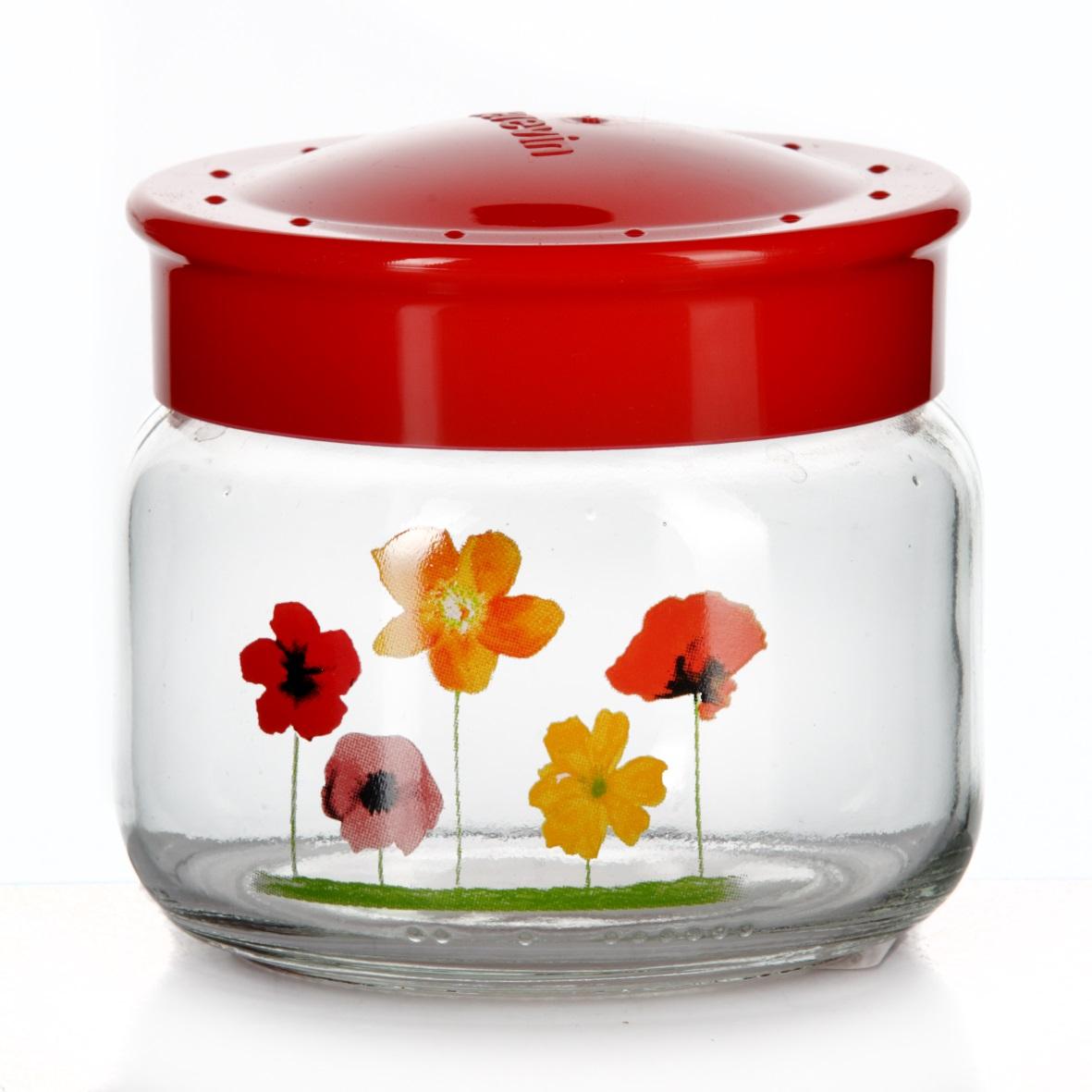 Банка для сыпучих продуктов Herevin, цвет: красный, 400 мл. 171016-000171011-000Банка для сыпучих продуктов Herevin, изготовленная из прочного стекла, декорирована изображением цветов. Банка оснащена плотно закрывающейся пластиковой крышкой. Благодаря этому внутри сохраняется герметичность, и продукты дольше остаются свежими. Изделие предназначено для хранения различных сыпучих продуктов: круп, чая, сахара, орехов и т.д. Функциональная и вместительная, такая банка станет незаменимым аксессуаром на любой кухне. Можно мыть в посудомоечной машине. Пластиковые части рекомендуется мыть вручную.Объем: 400 мл.Диаметр (по верхнему краю): 7,5 см.Высота банки (без учета крышки): 8 см.