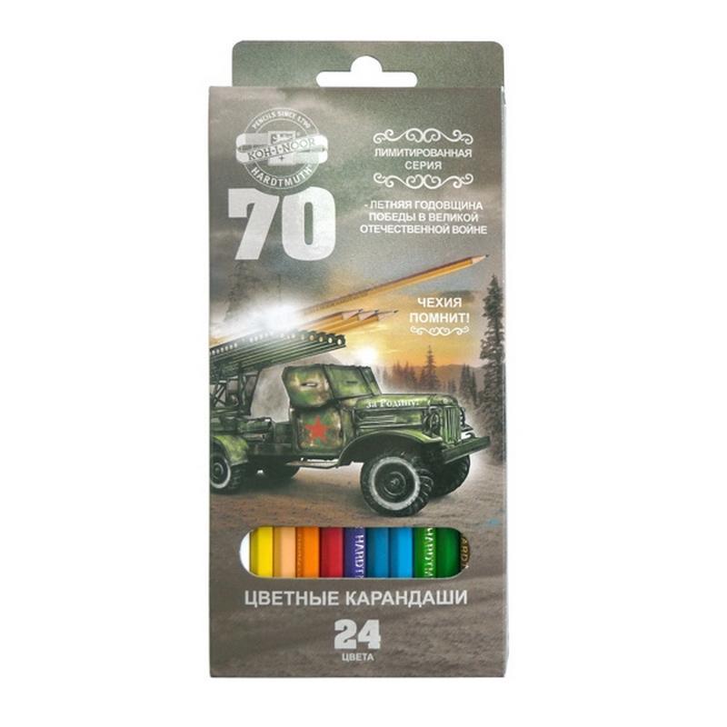 Набор карандашей цветных 70-лет Великой Победы, 24 цв., в картонной упаковке с европодвесом3654/24 33 KS GV