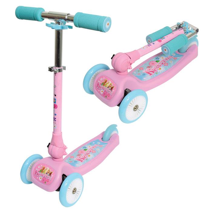 1TOY Самокат детский трехколесный КрасоткаТ57629Cамокат 1TOY Красотка с тремя колесами рассчитан на детей возрастом от 3-х лет и весом до 20 кг. Управление самокатом осуществляется при помощи поворота руля фиксированной высоты. 3 колеса помогут ребенку держать равновесие во время езды. Это очень важно - ведь полученные навыки пригодятся, когда придет время пересесть на двухколесный транспорт.При соблюдении простых правил этот самокат прослужит достаточно долго - прежде всего, не допускайте выезда на проезжую часть и избегайте неровных поверхностей (с ямами и выбоинами).Детский трехколесный самокат Красотка - отличный подарок для девочки.