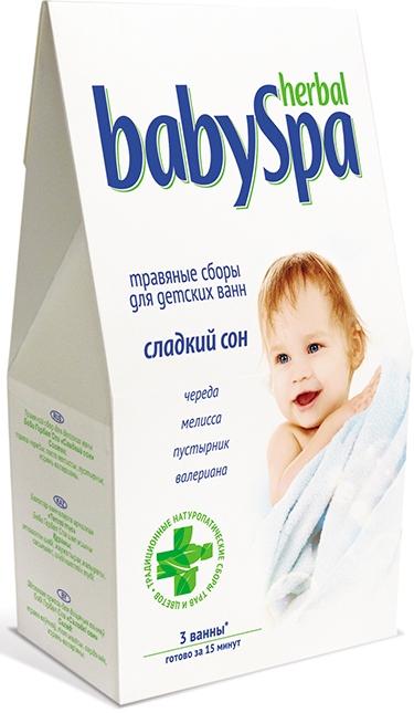 Herbal Baby Spa Травяной сбор Сладкий сон, 45 г17071Издавна принято купать малышей в травяных ваннах. Травы - сокровищница полезных для человека свойств.Травяной сбор Сладкий сон, в составе с валерианой, пустырником, чередой и мелиссой, способствует спокойному сну малыша.Купание в таких ваннах доставит удовольствие и вам, и вашему, а так же благоприятно скажется на его здоровье. Помимо всего прочего, отвары трав смягчают воду и обладают расслабляющим эффектом. Готовится за 15 минут.Травяные сборы расфасованы в фильтр-пакеты - 3 пакета по 15 г.