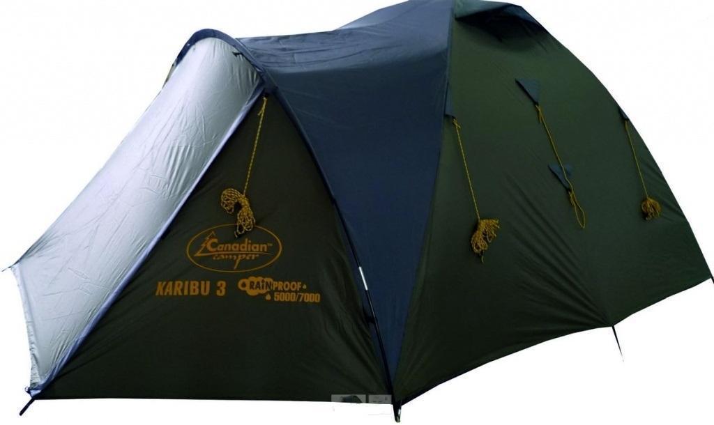 Палатка CANADIAN CAMPER KARIBU 4 (цвет forest)30400022Палатка Canadian Camper Karibu 4 обладает вместительным тамбуром и просторной комнатой. В ней с удобством может разместиться целая семья или компания друзей из 3-4 человек. Благодаря расположенным друг напротив друга входам и вентиляционным окошкам палатка великолепно проветривается. Водонепроницаемость материала дна составляет 6000 мм водяного столба, поэтому даже сильный затяжной ливень жителям этой палатки не страшен.Размеры внешней палатки (тента) (ДхШхВ): 315 x 215 x 150 см.Размеры внутренней палатки (ДхШхВ): 210 x 210 x 145 см.Количество входов: 2.Количество комнат: 1.Количество тамбуров: 1.