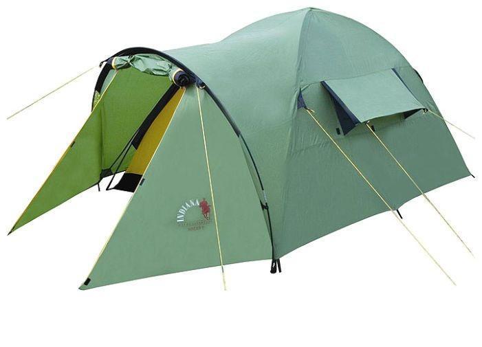 Палатка INDIANA HOGAR 4360300002Данная модель туристической палатки стала частым выбором среди любителей кемпинга и походов по средней полосе России. Конфигурация, прочностные характеристики, защита от влаги и солнца, - полностью соответствуют различным погодным условиям.Палатка имеет очень маленький вес, поэтому в сложенном виде ее без проблем можно переносить даже во время длительного походаЛюбители велосипедных прогулок также по достоинству смогут оценить данную модель, ведь при путешествии на велосипеде значительную роль играет вес инвентаря.