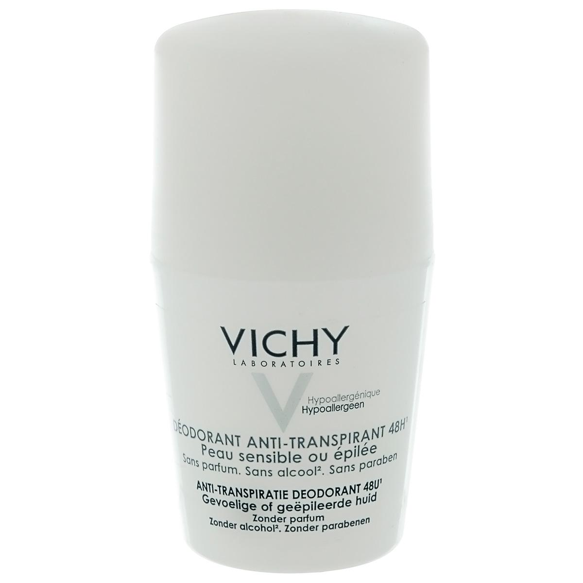 Vichy Дезодорант шариковый 48 часов, для очень чувствительной кожи, 50 мл17214651Эффективен в течение 48 часов. Высокая переносимость. Регулирует избыточное потоотделение, не содержит спирта. Благодаря аминокомплексурастительного происхождения, быстро снимает раздражение кожи и ощущение дискомфорта.